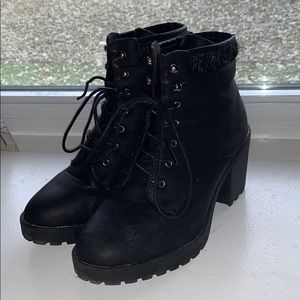 Just Fab Black Heeled Boots